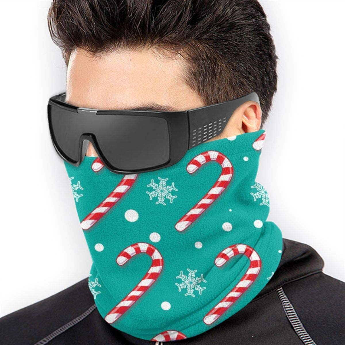 Microfiber Neck Warmer Christmas Blue Candy Cane Neck Gaiter Tube Ear Warmer Headband Scarf Face Mask Balaclava