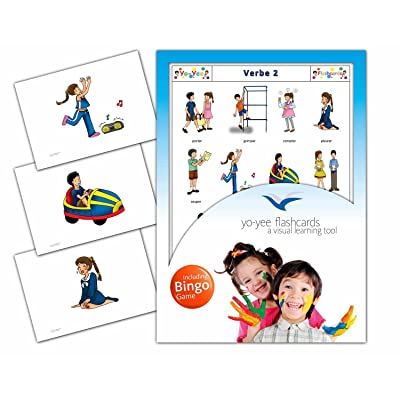 Verbs Flashcards in French Language - Flash Cards with Matching Bingo Game for Toddlers, Kids, Children and Adults - Size 4.13 × 5.83 in - DIN A6: Toys & Games