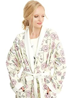 Beauty and the Beast Disney Belle Terry Bathrobe Robe Roses Juniors