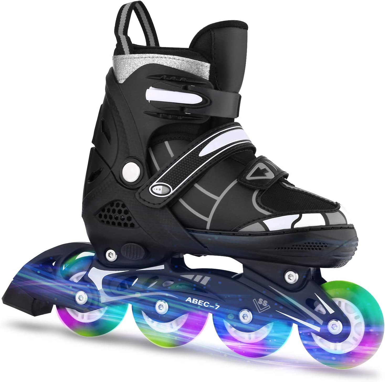 Adjustable with Light Up Wheels Beginner Roller Fun Flashing Illuminating Roller Skates for Kids Boys and Girls 2 Colors and 3 Sizes ANCHEER Inline Skates for Kids