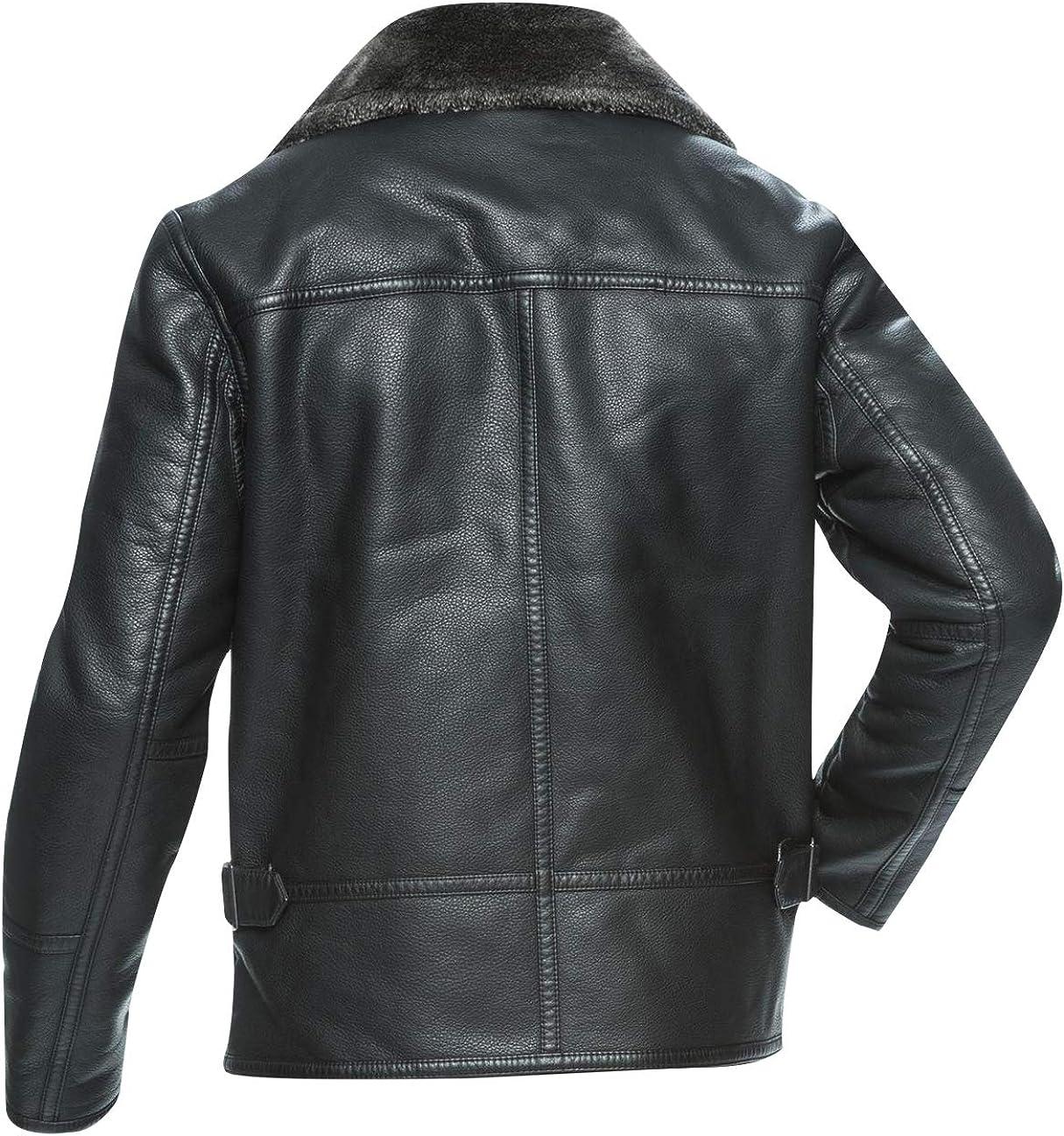 Mens Brando Aviator Fur Collar Army Biker Leather Jacket