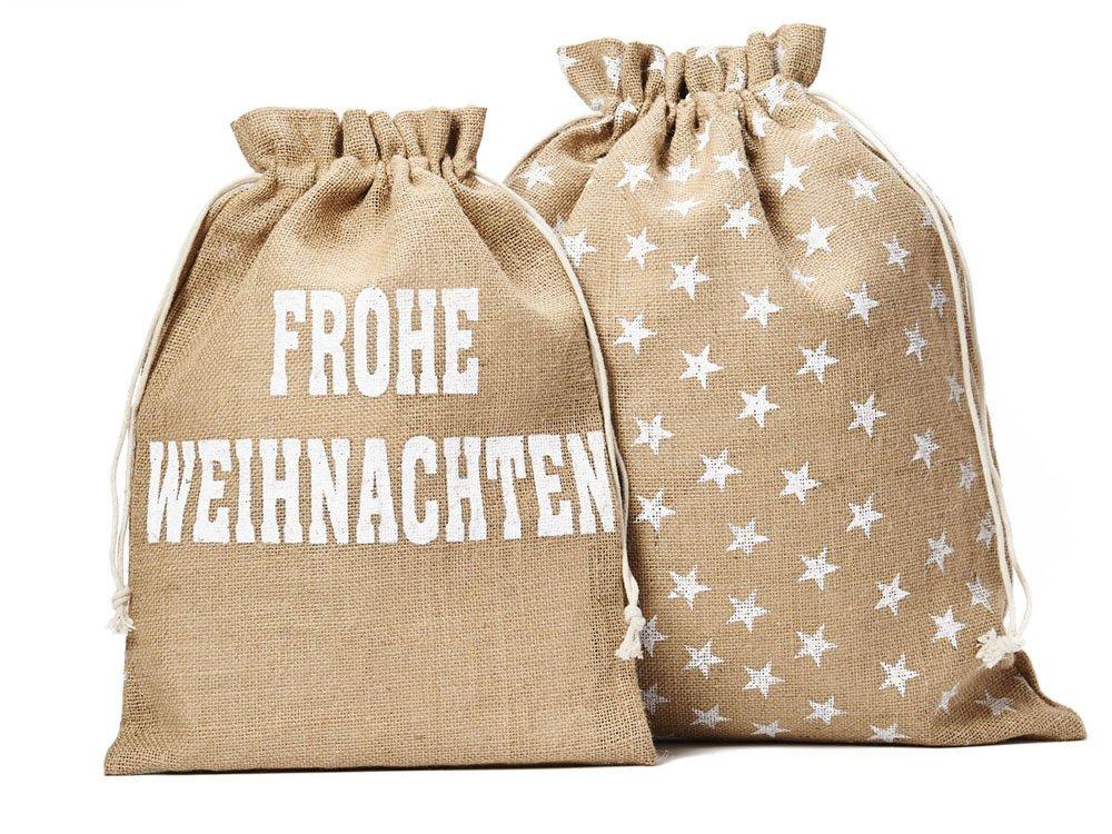 5 STK. Jutebeutel, Jutesack in der Größe 40x30 cm (Höhe x Breite) mit Baumwollkordel zum Zuziehen, weißer Schriftzug Frohe Weihnachten und Sternen organzabeutel24