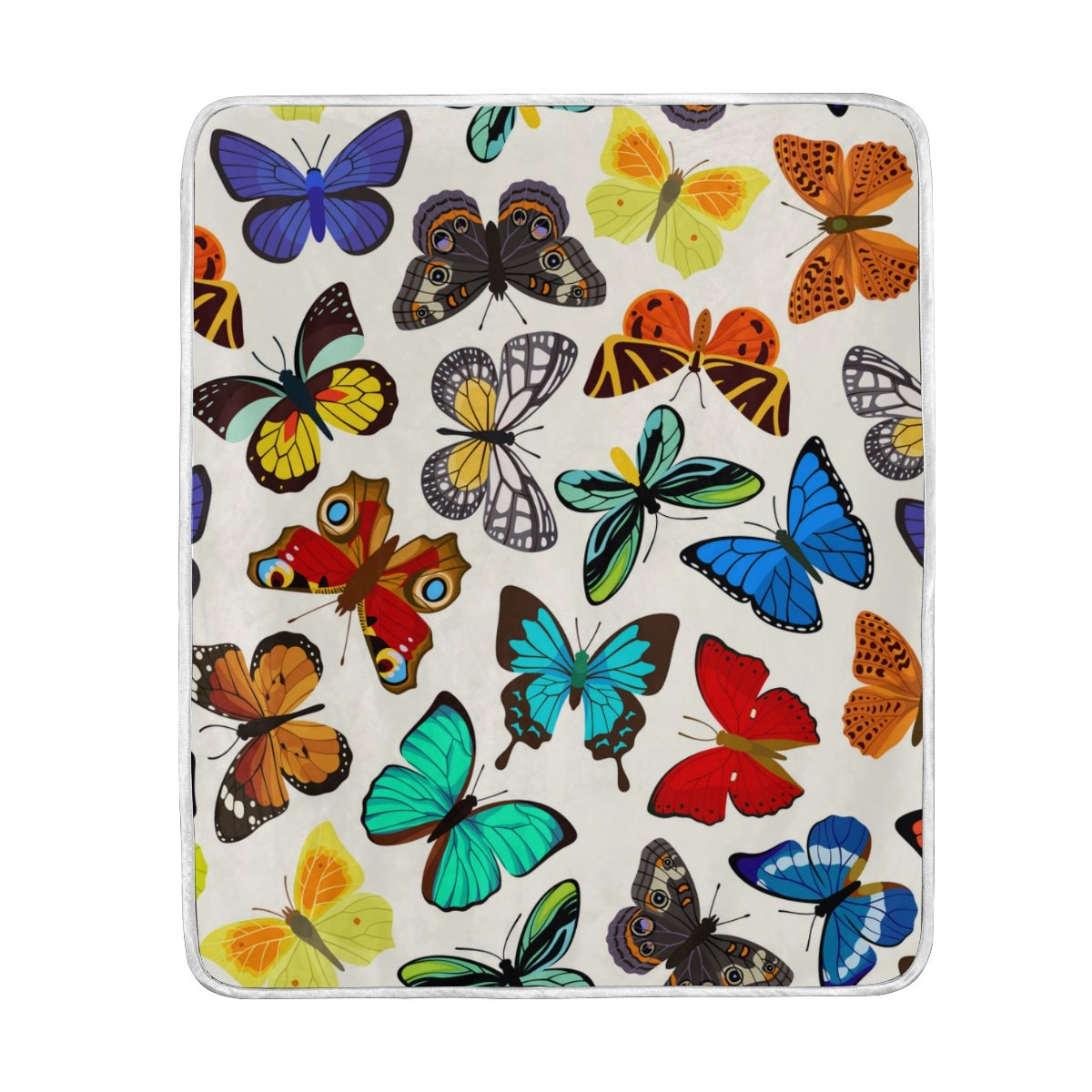 My Little Nest Warm Throw Blanket Mix Colorful Butterfly Lightweight Microfiber Soft Blanket Everyday Use for Bed Couch Sofa 50'' x 60''