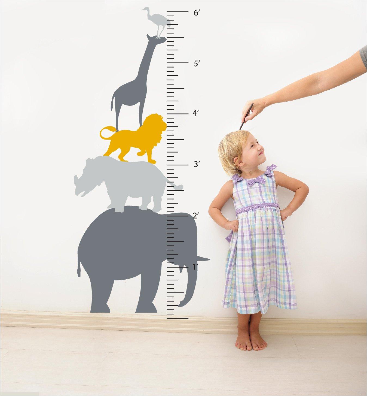 Greys & Yellow Animal Growth Chart Wall Decal (Greys & Yellow)