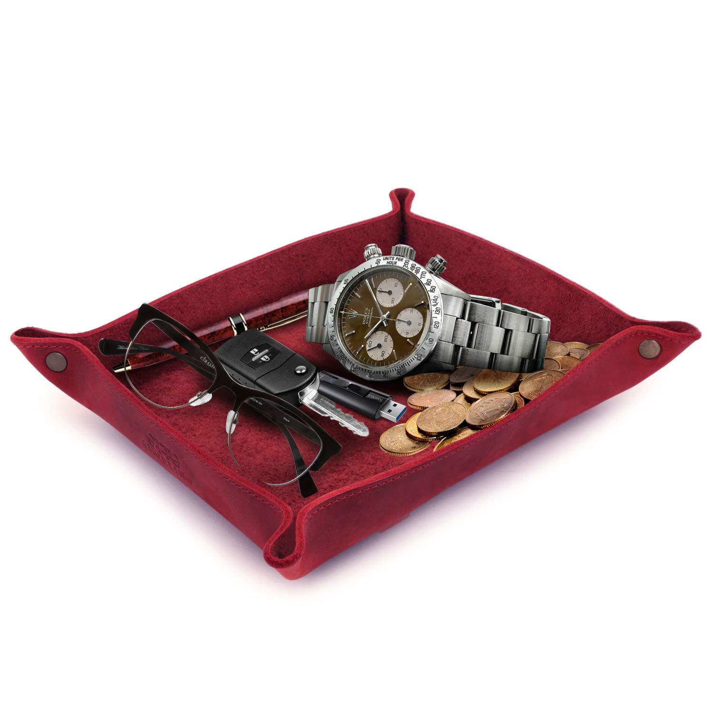 Pr/áctica Caja de Almacenamiento para Carteras llaves Tel/éfonos Celulares y Equipos de Oficina Organizador Relojes Negro Monedas Bandeja de Cuero Real Londo