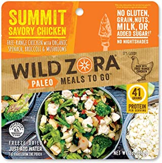 product image for Wild Zora Paleo Meals To Go - Summit Savory Chicken - Freeze Dried Meal for Backpacking and Camping - Free Range Chicken, AIP Friendly, Gluten Free, Dairy Free, High Protein Meal - (Single Serving)