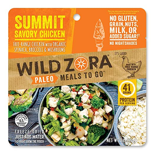Summit Savory Chicken - Paleo Meals to Go - Freeze Dried, Lightweight, Paleo Meals for Backpacking, Camping, and on the Go