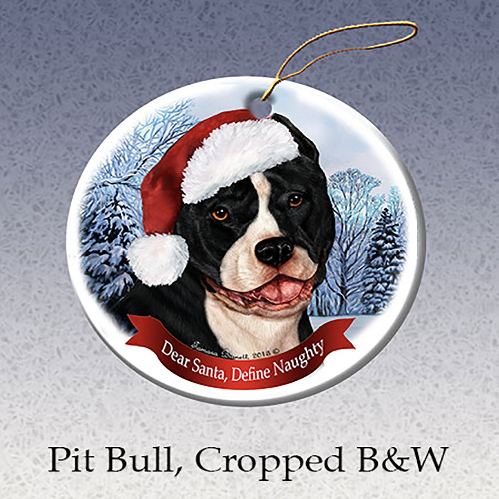 Cropped Holiday Pet Gifts Black /& White Pit Bull Dog Porcelain Ornament