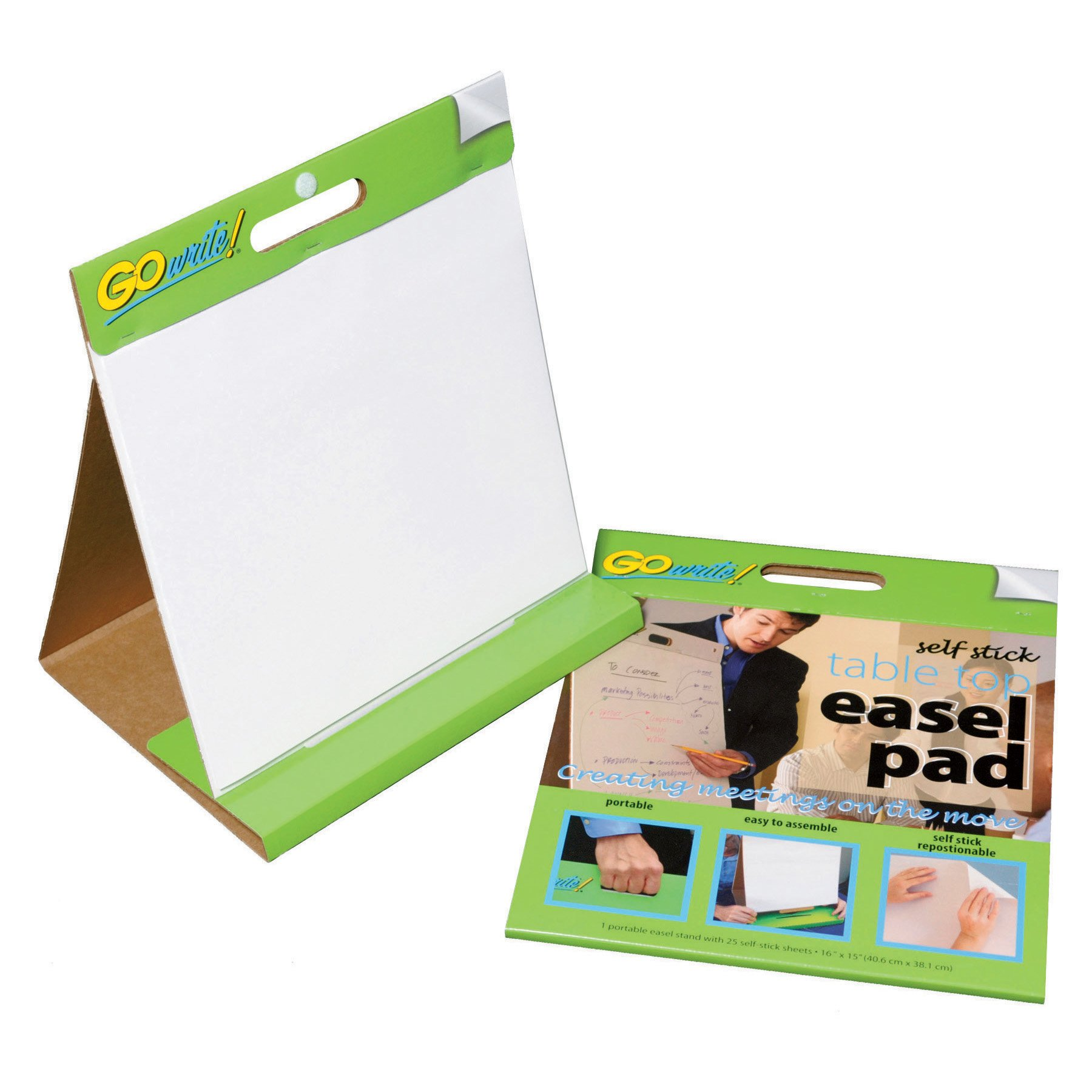 GoWrite! Self-Stick Table Top Easel Pad, 16''X15'', 25 Sheets