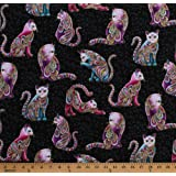 Cotton Cats Animals Feline Paisleys Gold Metallic Shimmer Whimsical Cat-i-tude Artist-o-cats Black Cotton Fabric Print by the Yard (4201M-12)