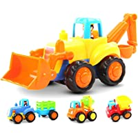 GoStock Friction Powered Cars Push and Go Toys for 1 2 3 Year Old Boys and Girls, 4 Sets Construction Vehicles of…