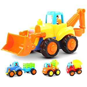 Friction Powered Cars Push and Go Car Construction Vehicles Toys Set of 4 Tractor,Bulldozer,Cement Mixer Truck,Dumper Push Back Cartoon Play for2 3 Years Old Boys Toddlers Kids Gift