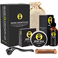 Beard Growth Kit - Derma Roller for Beard Growth, Beard Growth Serum, Sanitizer and Comb, Stimulate Beard and Hair Growth & Organic Beard Oil - Beard Stimulator