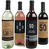 50th Milestone Birthday - Dashingly Aged to Perfection - Wine Bottle Labels Birthday Gift For Him - Set of 4