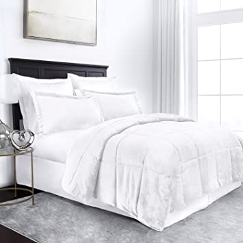 Luxury Bedding Set Queen Swift Home® Swift Home Collection Ultra-Plush Reversible Micromink and Sherpa 3-Piece Down Alternative Comforter with Pillow Shams Hypoallergenic Pewter