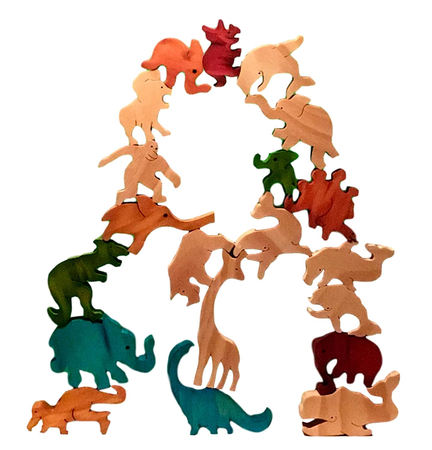 Whales TARATA Balancing Animals Made From NZ Farm Forested Radiata Pine In Gift Box Natural Wood