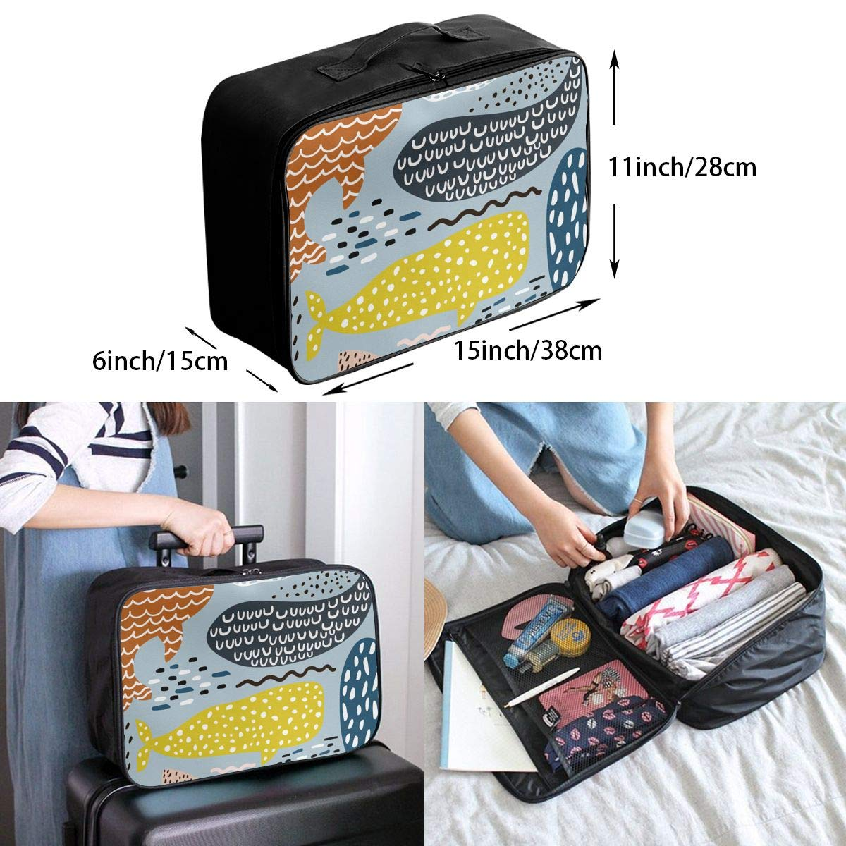 Travel Luggage Duffle Bag Lightweight Portable Handbag Colorful Whale Painting Large Capacity Waterproof Foldable Storage Tote
