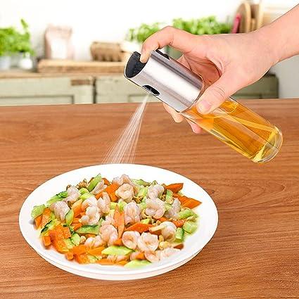 Spray de aceite de vidrio, dispensador de botellas vacío para cocinar ensalada barbacoa horno: Amazon.es: Hogar