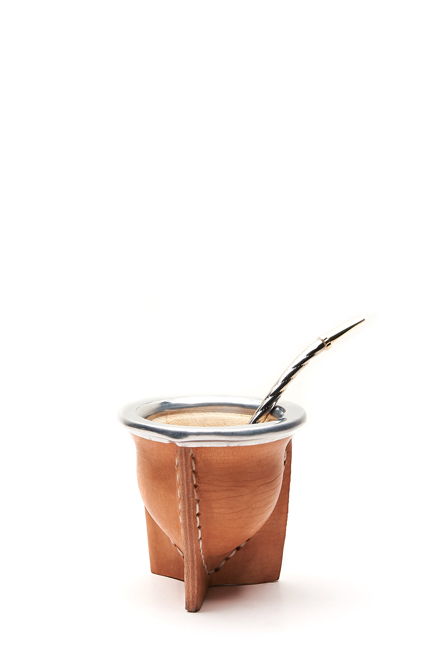 Leather Wrapped Handmade Mate Gourd Including Straw (Bombilla) (Natural)