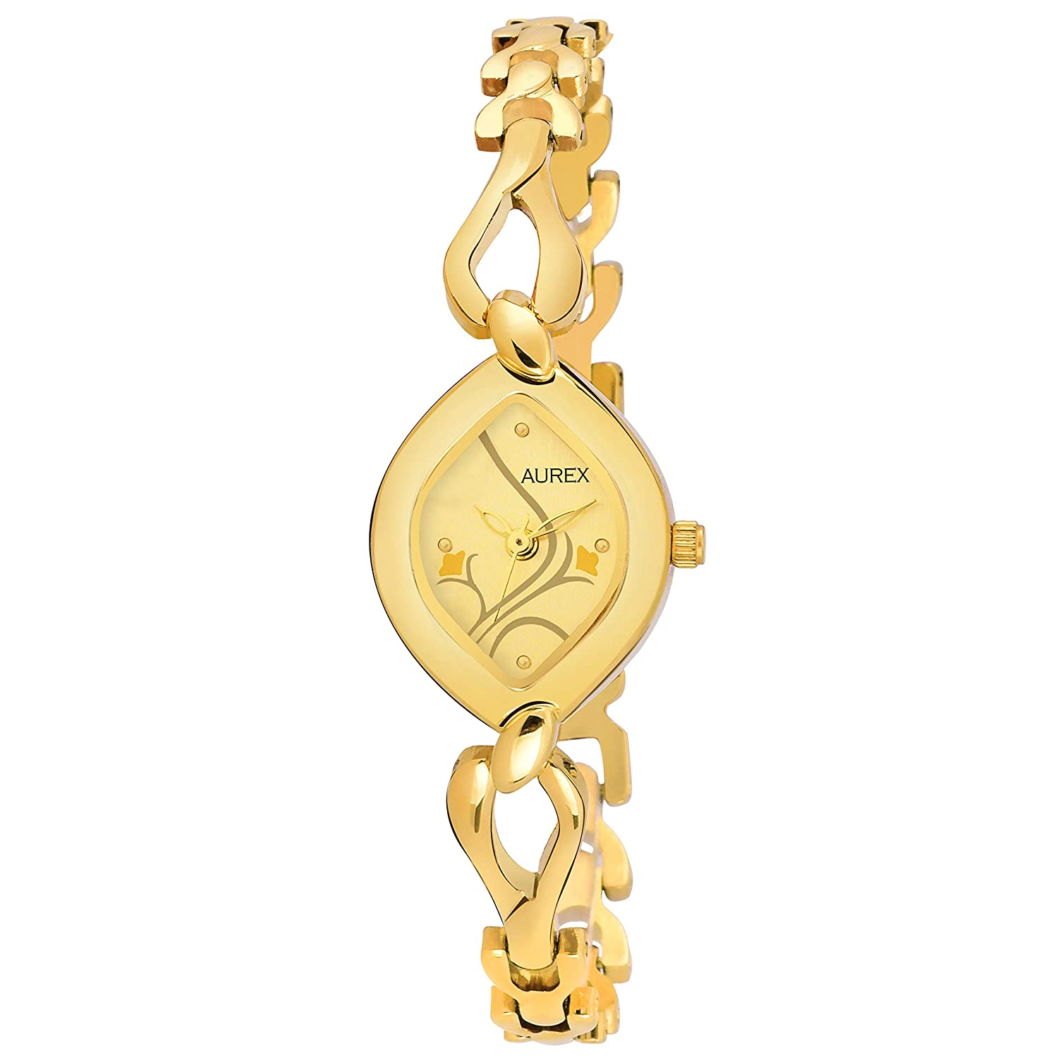 Aurex Analouge Gold Dial 18 K Gold Plated Watch Water