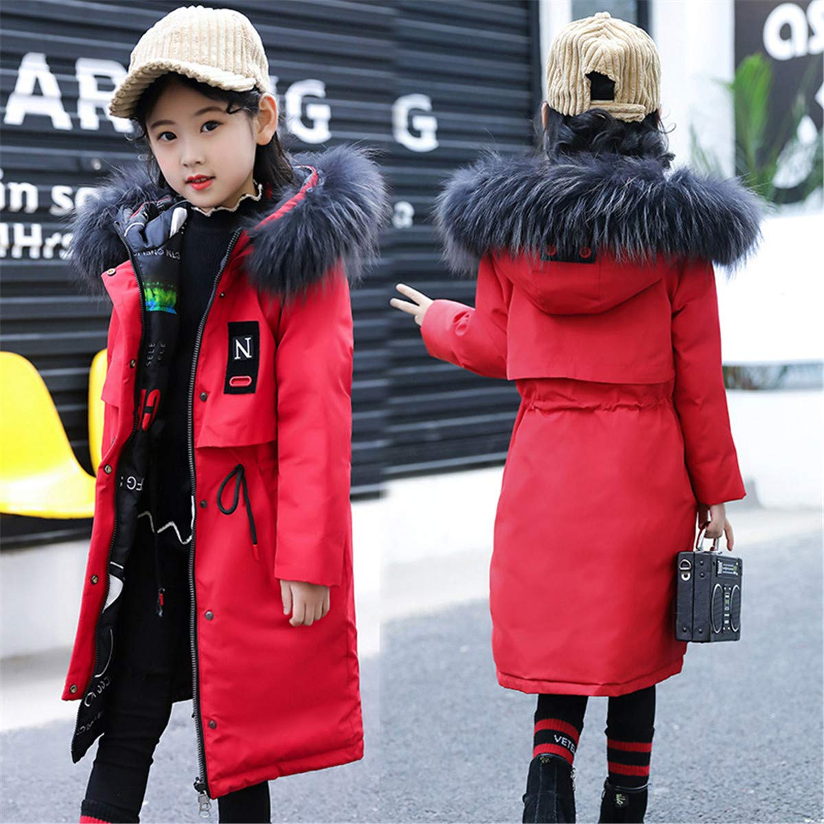 JELEUON Big Girls Zipper Hooded N Letter Drawstring Fur Trim Winter Warm Long Snowsuit Puffer Down Jacket Coat Outwear