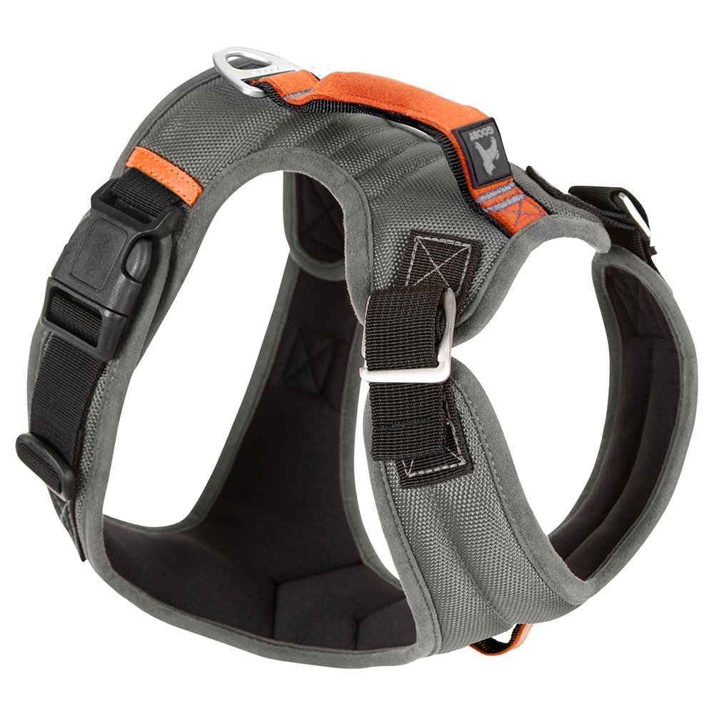 Gooby 04713-GRY-M New Pioneer Dog Harness with Traffic Handle & Dual Leash Ring, Gray, Medium Inafiction USA Inc. dba Gooby Pet Fashion