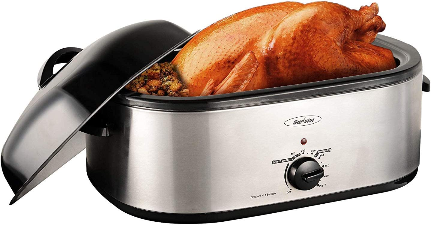 Sunvivi Electric Roaster Oven with Self-Basting Lid, 18-Quart Turkey Roaster Oven with Removable Insert Pot, Full-Range Temperature Control and Cool-Touch Handles, Silver Body and Black Lid