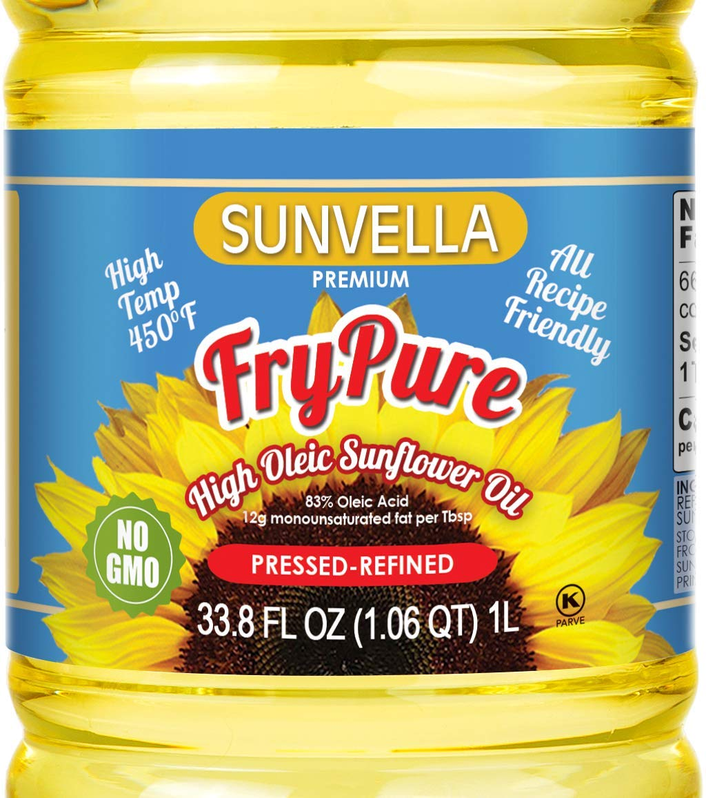 SUNVELLA FryPure Non-GMO High Oleic Sunflower Oil, Pressed-Refined 33.8 FL OZ (1.0 L) (Pack of 2) by SUNVELLA