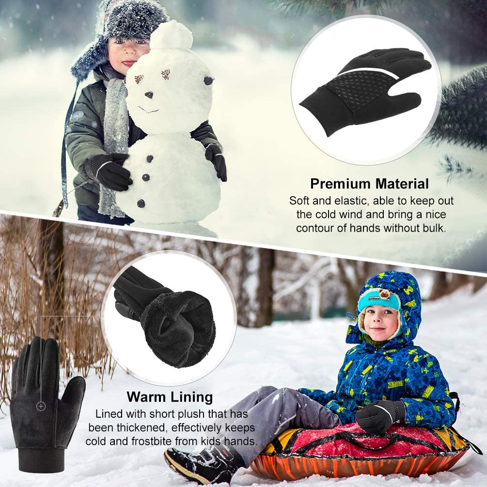 VBIGER Kids Winter Touchscreen Anti-slip Sports Running Cycling Gloves for Boys Girls Aged 6-12: Clothing