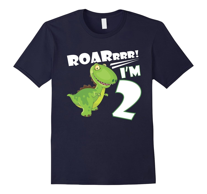 2nd Birthday Shirt Dinosaur Gift T-Shirt For 2 Year Old Boy-Art