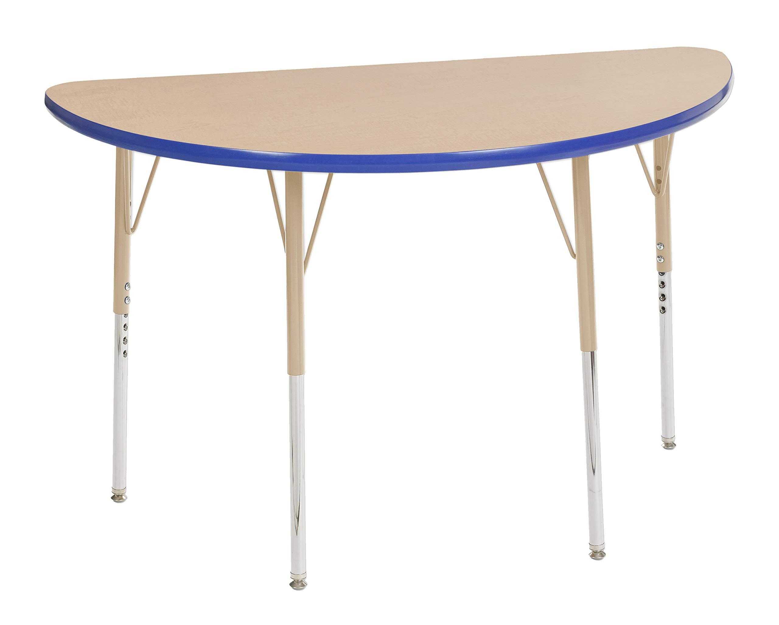 ECR4Kids Mesa Premium 24'' x 48'' Half Round School Activity Table, Standard Legs w/Swivel Glides, Adjustable Height 19-30 inch (Maple/Blue/Sand)