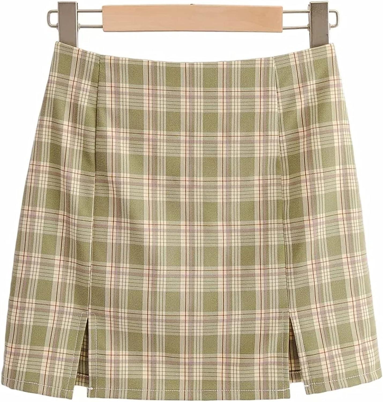 Faldas Plisadas de Verano para Mujer, Falda Corta con Abertura Lateral Elegante y Cintura Alta, Falda Acampanada de Fiesta con Estampado a Cuadros Vintage