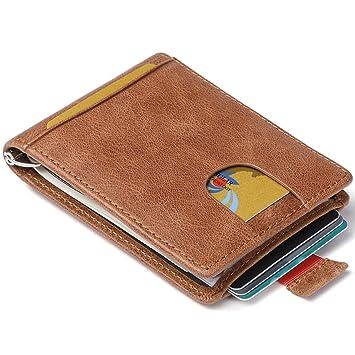 Huztencor Cartera para Hombre RFID Billetera Tarjetas de Credito De Piel Tarjetero Pequeña y Minimalista Clip
