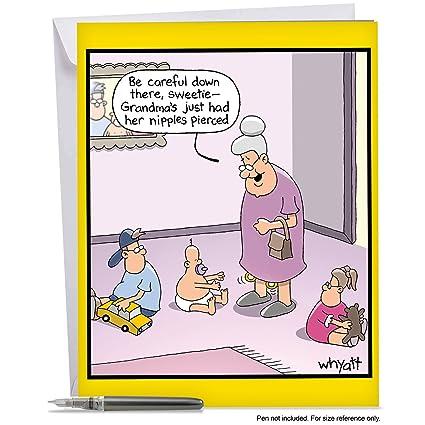 Amazon J4160bdg Jumbo Funny Birthday Card Grandmas Piercings
