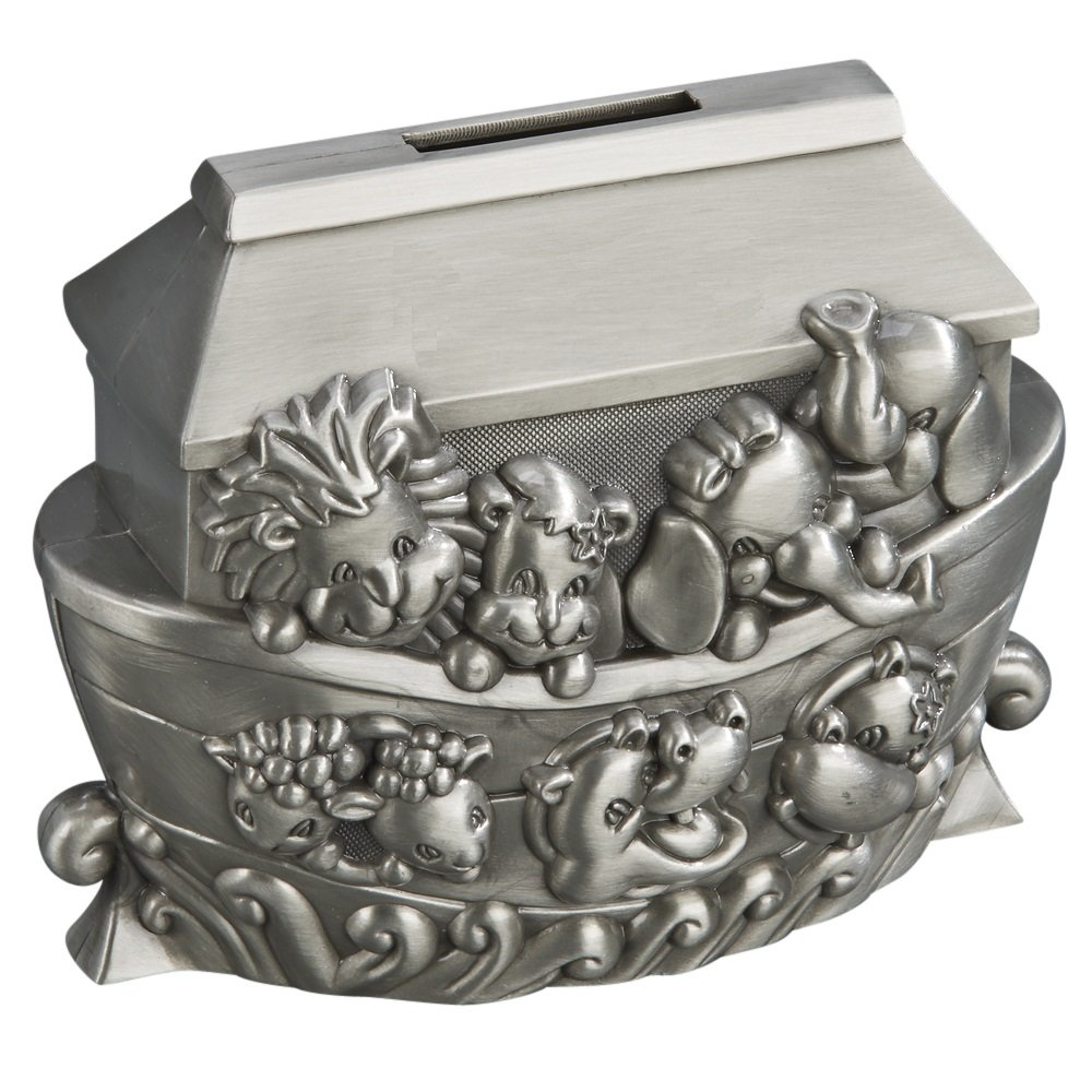 Creative Gifts Noahs Ark Animals Brushed Pewter Coin Bank,4x5 023220
