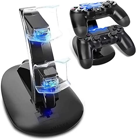 AMANKA Dual USB Dock Station Stand for Playstation 4 Sony PS4 Controller Black with LED light Indicators: Amazon.es: Videojuegos