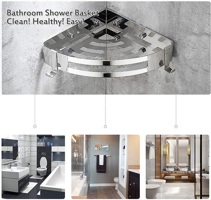 WinArrow - Estante esquinero para baño, cesta de ducha de acero inoxidable, organizador de ducha para ahorrar espacio y triángulo: Amazon.es: Bricolaje y herramientas