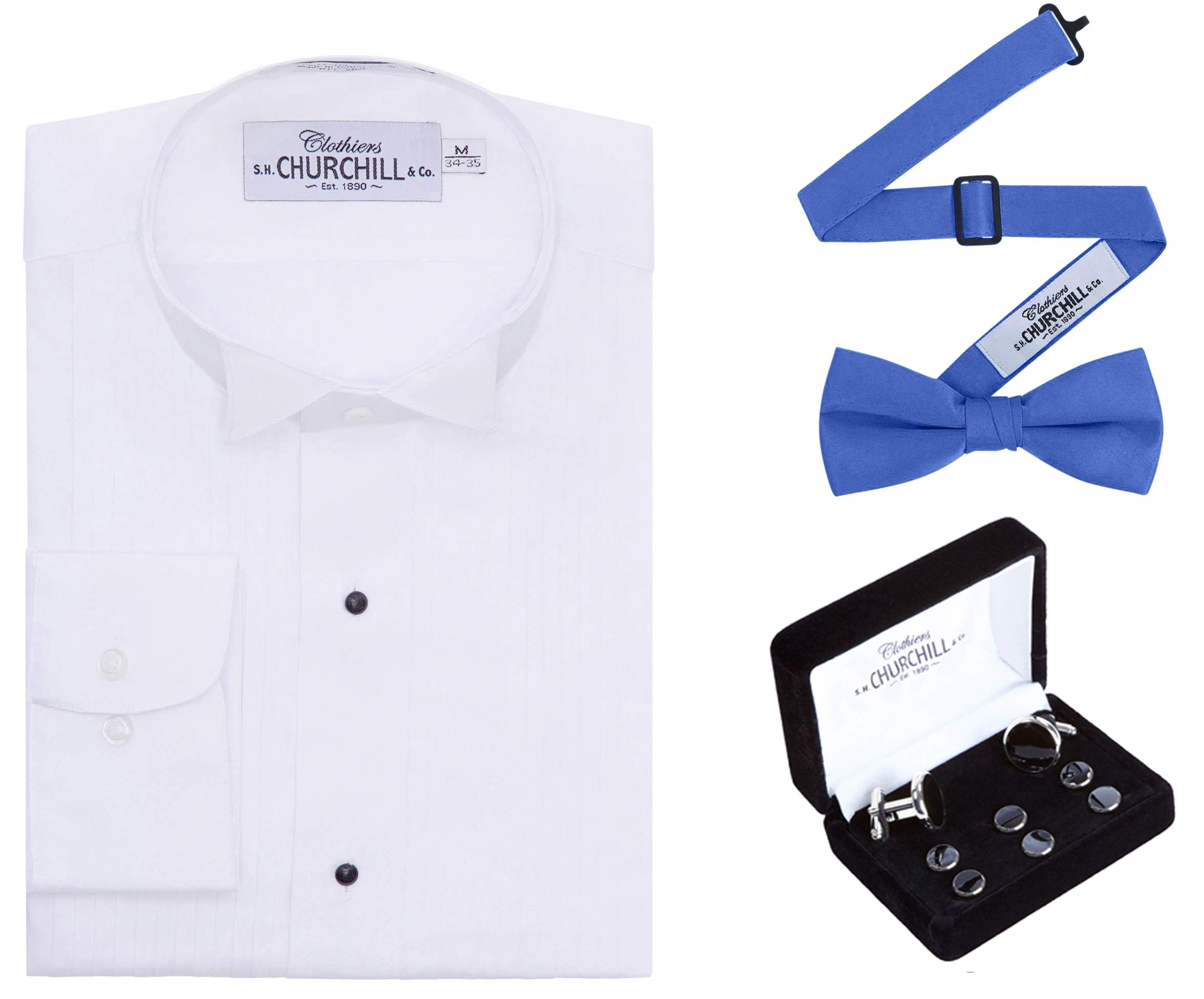 Mens White Wing Tuxedo Shirt, Royal Bowtie & Silver Stud Set (21 36/37) by S.H. Churchill & Co.
