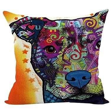 Sunward 2017 Dog Style Cotton Linen Canvas Decorative Square Throw Pillow Cover 18 x 18