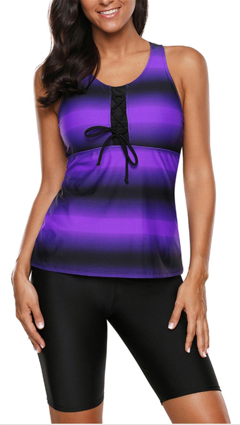 GDL Women Two-Piece Bathing Suit Color Ombre Print Racerback Tankini Swimsuit Purple L