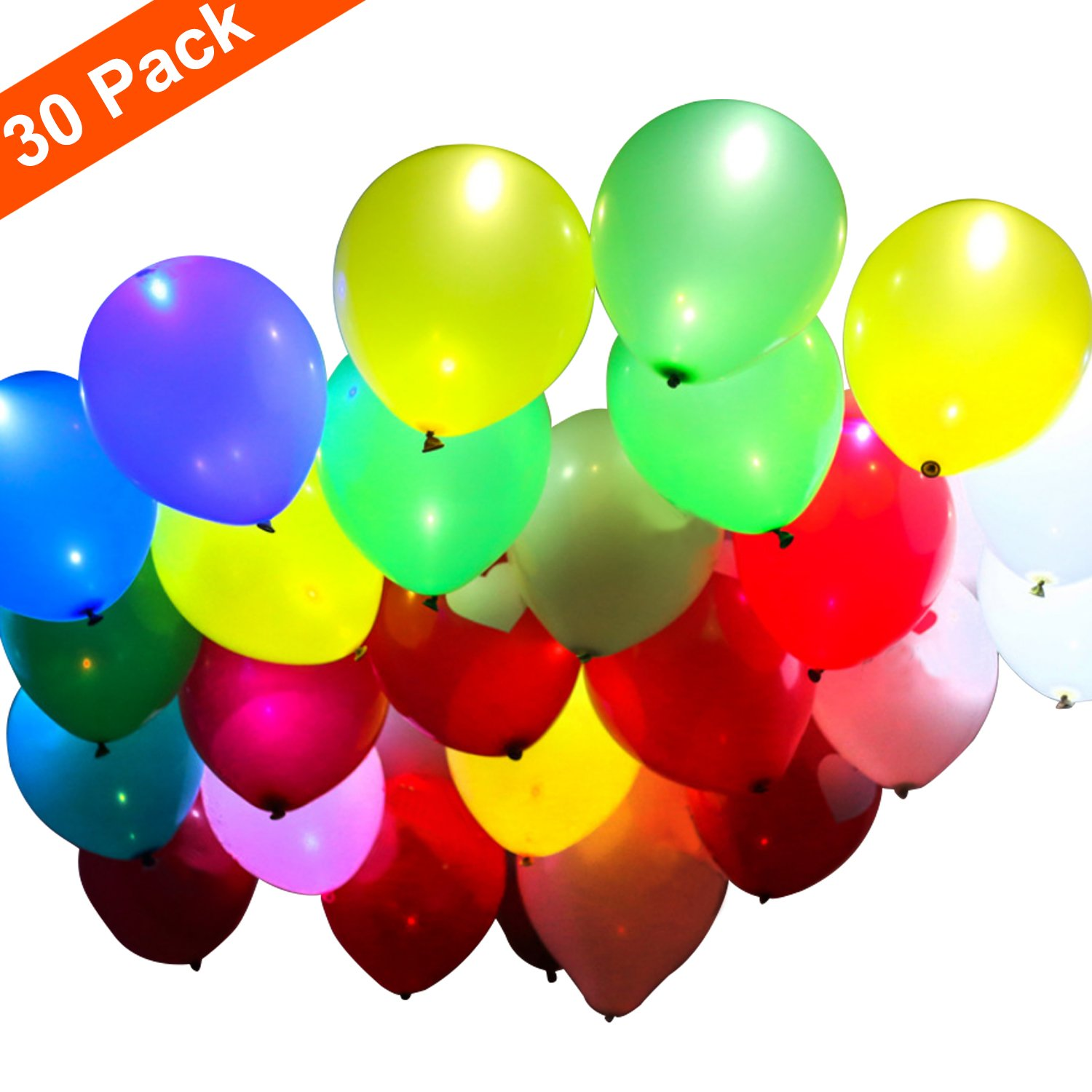 Party LED Balloons, Mixed Colors 12 inches Lights Glowing Balloons Decoration Luminous Balloons Flashing Light, Able to Fill with Helium (30-Pack)