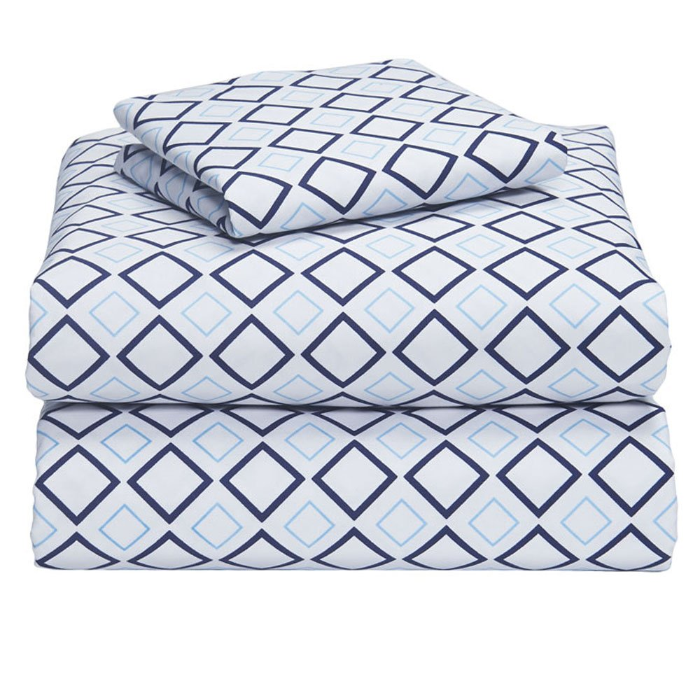 Campus Linens Blue Lennox 3 Piece Twin XL Sheet Set for College Dorm Bedding