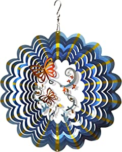 FONMY Wind Spinner Stainless Steel 3D Hanging Garden Decoration for Indoor Outdoor Multi Blue Color Twins Butterfly Metal Wind Spinners-12inch