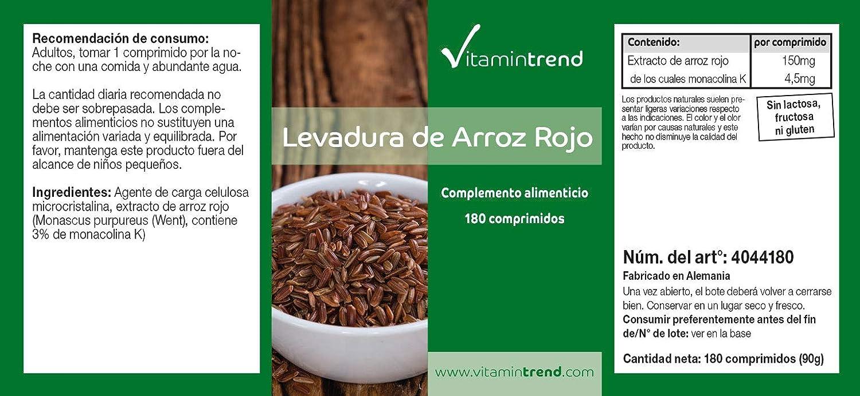 Levadura de arroz rojo - Bote para 6 MESES - 4-5 mg de monacolina ...