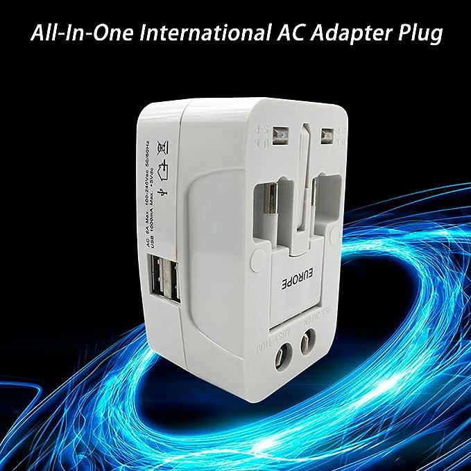 OWSOO Adaptador Internacional Viaje AC (AU/UK/US/EU) Adaptador de Corriente Universal USB 1 Paquete, Blanco: Amazon.es: Bricolaje y herramientas