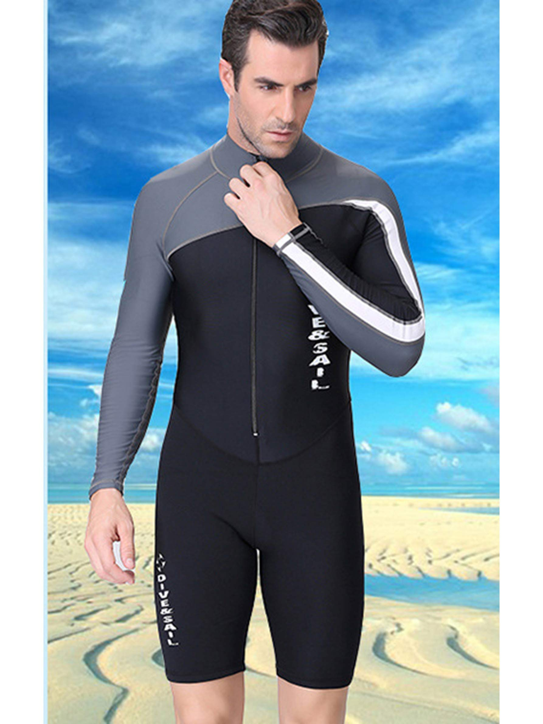 Men One Piece Wetsuits 1.5mm Zipper Long Sleeve Rash Guard Sun Protection Lycra Dive Skin Front Zip XL - Grey by DIVE & SAIL (Image #4)