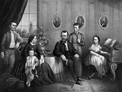 Vintage Civil War Print Of General Ulysses S Grant And His Family Posing At Home Poster