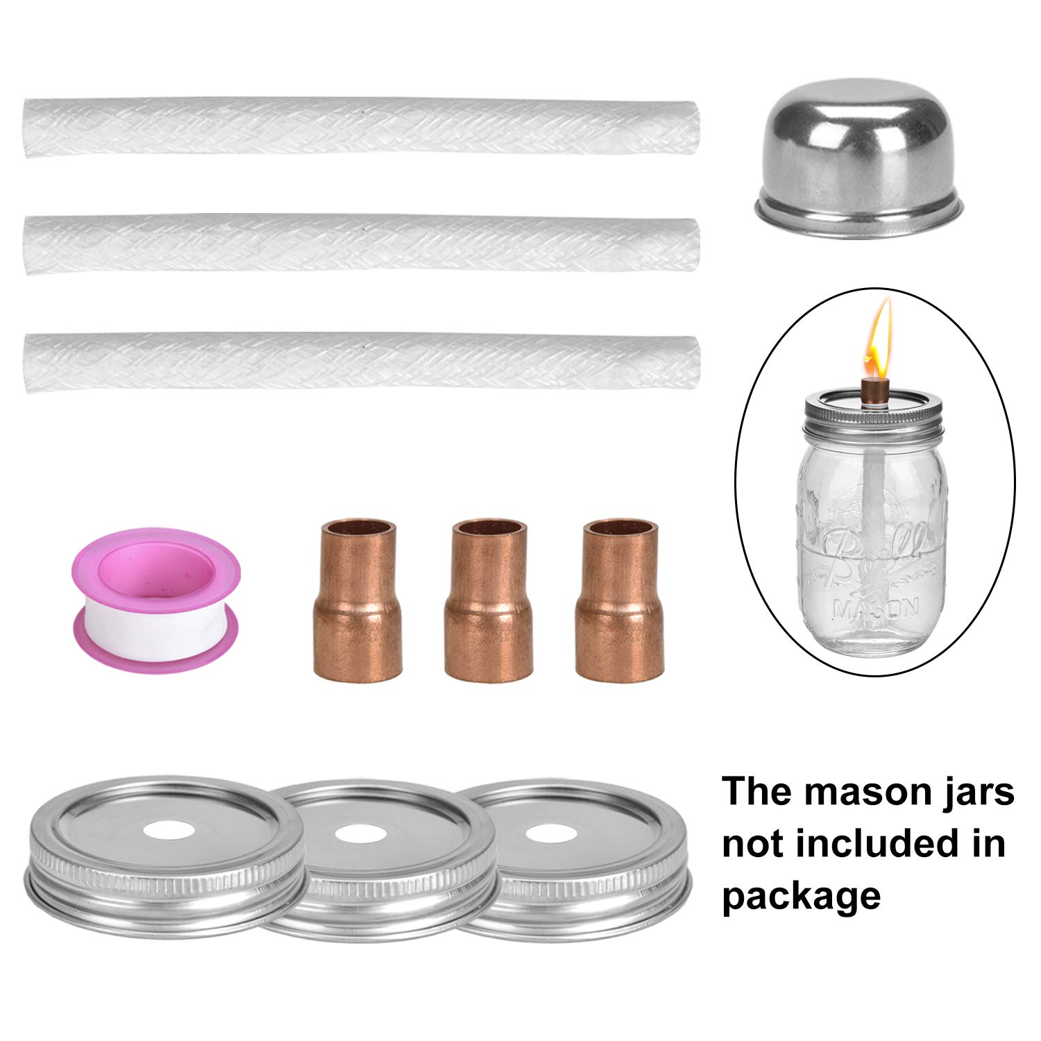 Mason Jar Tabletop Torch Kits,Table Torches Wicks Oil Lamp Torch for Regular Mouth Mason Jar,Outdoor Torch Light for Patio Garden Decor 4 Fiberglass Wicks,4 Stainless Steel Lids /& 4 Fire Cover Caps