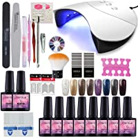 COSCELIA Gel Nail Starter Kit 8 Colors Gels 36W Nail Lamp Dryer UV Soak Off Topcoat Basecoat Nail Art Tool Nail Salon Set Manicure(G8C)
