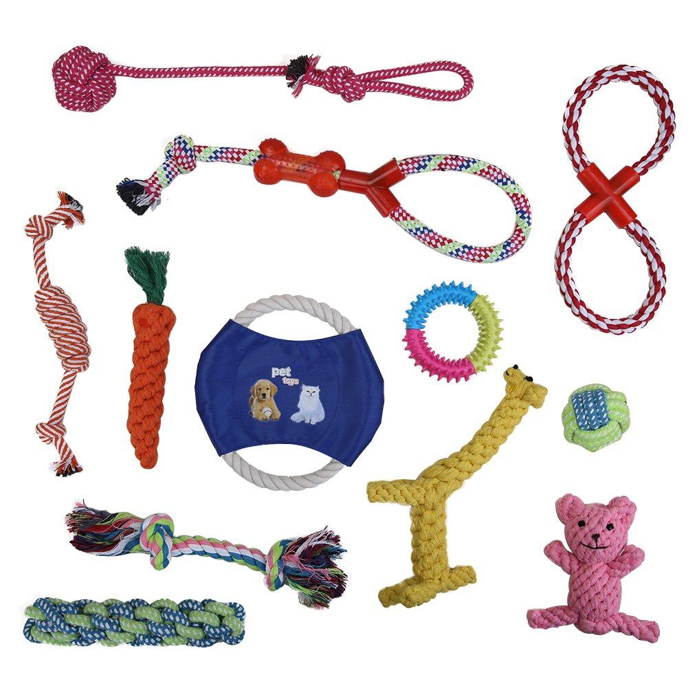Vivifying Dog Rope Toys 12 Pack Pet Toy Gift Set Puppy Chew Dog Rope Toy Assortment for Small Dog